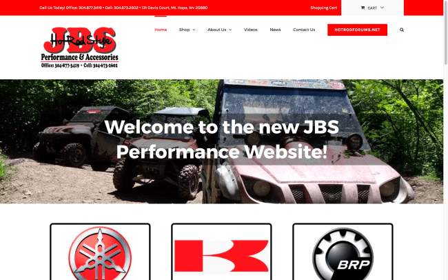 JBS Performance and Accessories home page web design by cucumber & company
