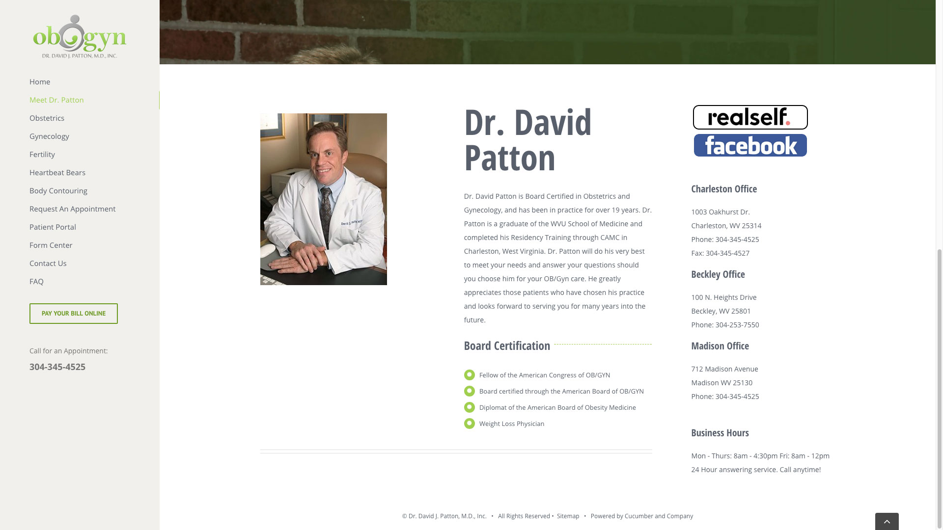 Dr. Patton OBGYN Website Biography Cucumber & Company Web Design Beckley, WV