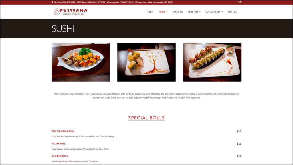 Fujiyama Japanese Steak House sushi menu web design by cucumber & company