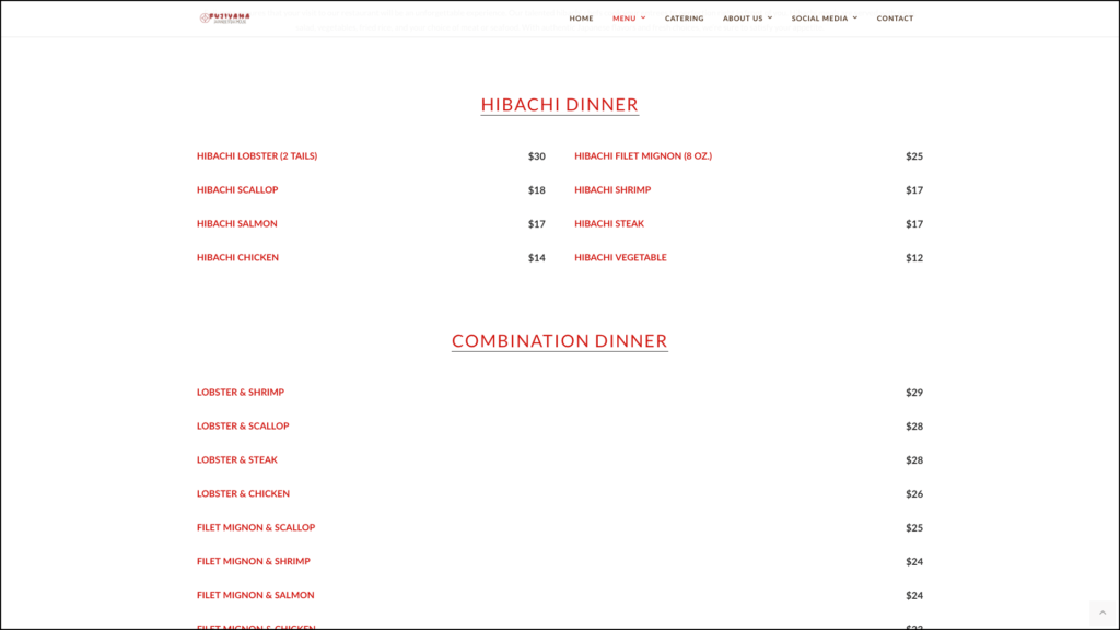Fujiyama Japanese Steak House menu web design by cucumber & company