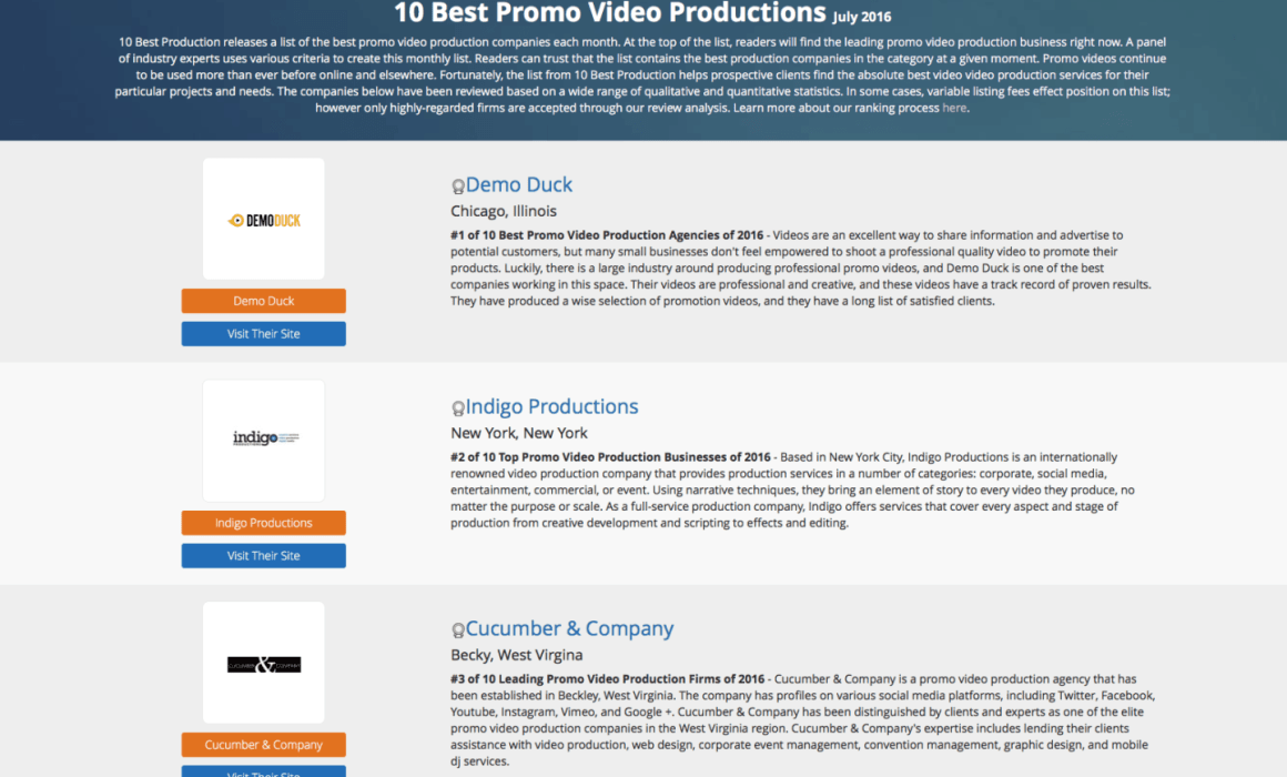 10 best promo video production companies