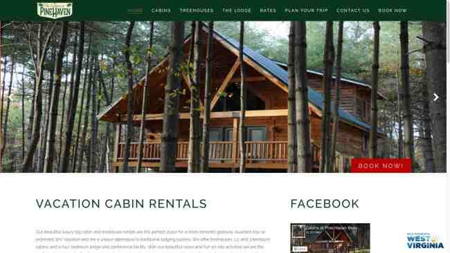 The Cabins at Pine Haven Beaver WV Web Design by Cucumber & Company
