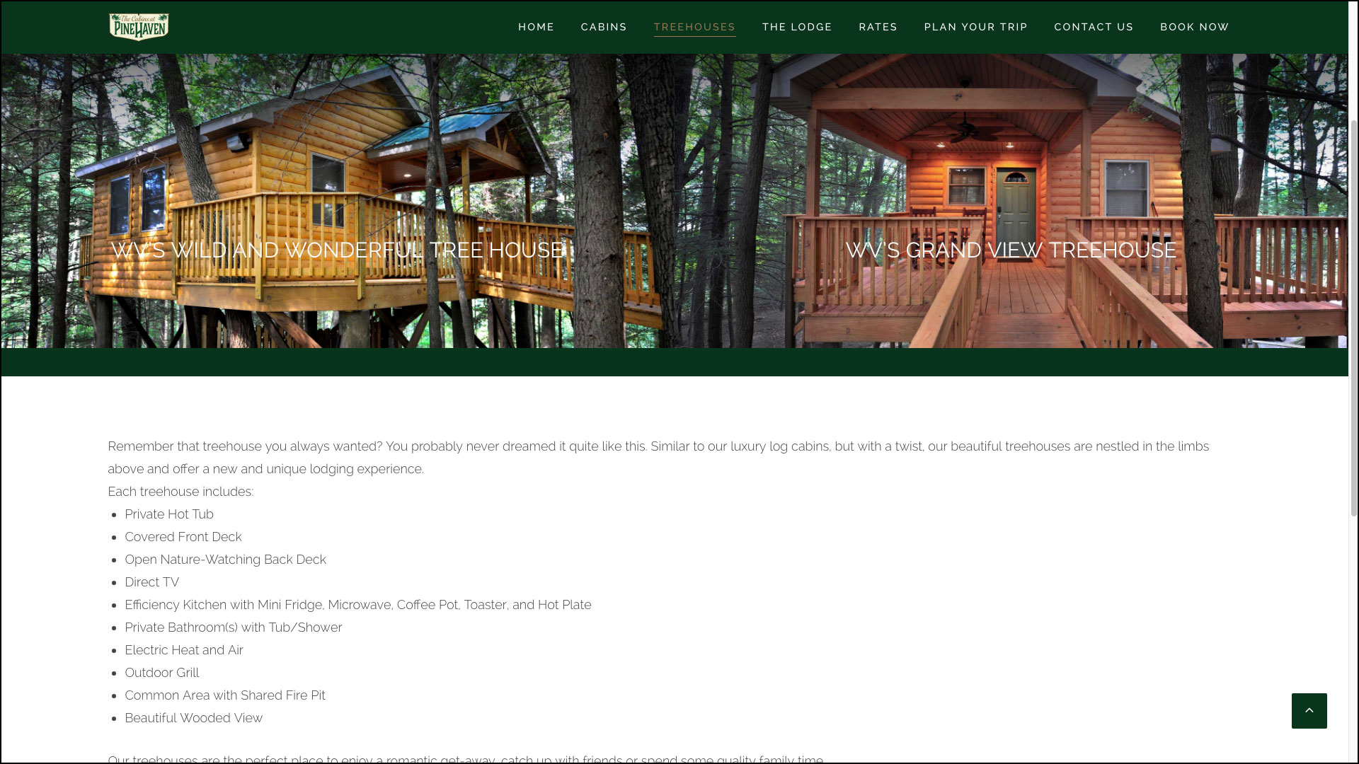 Cabins at Pinehaven Website by Cucumber & Company
