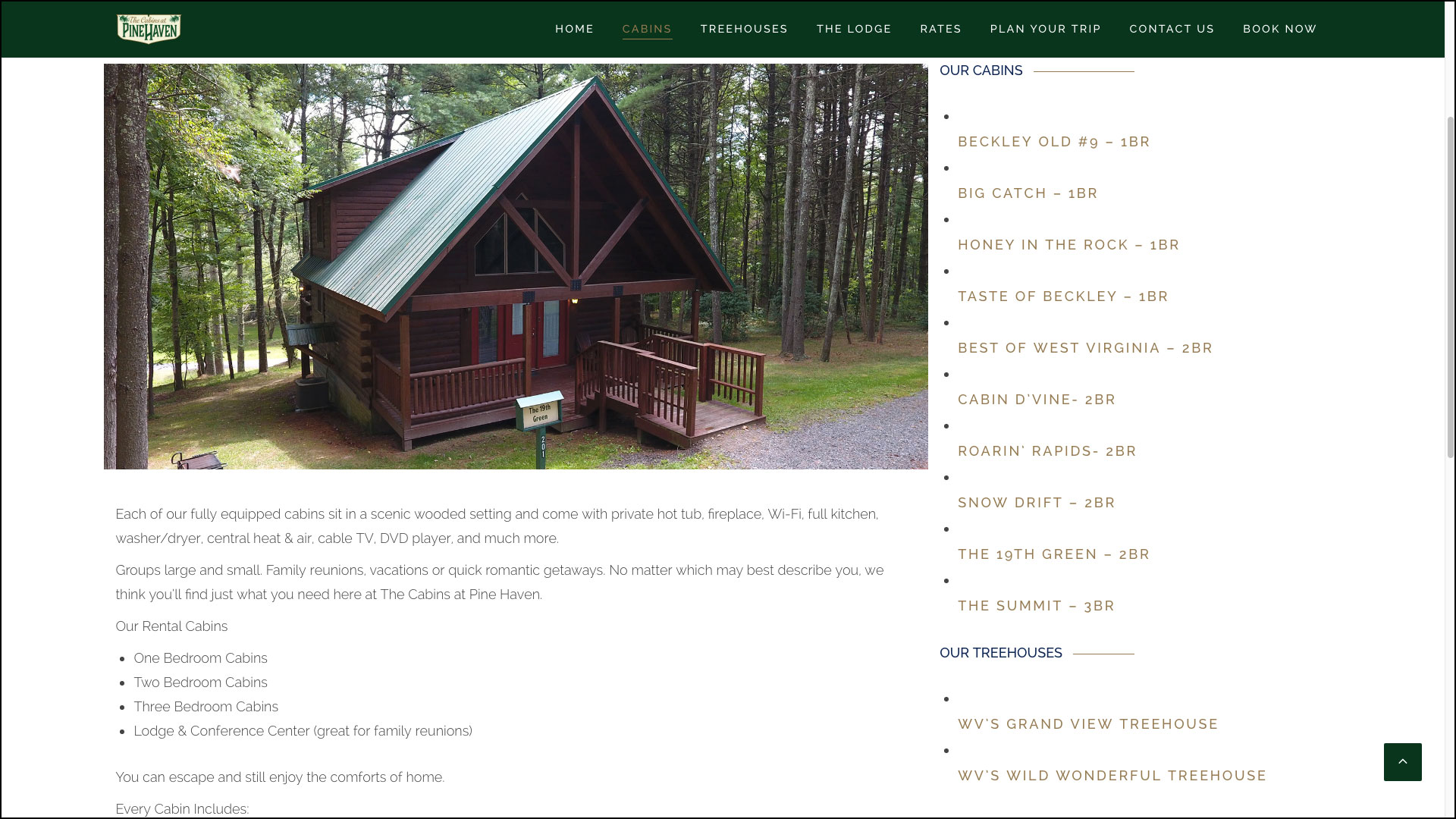 Cabins At Pinehaven Website By Cucumber U0026 Company