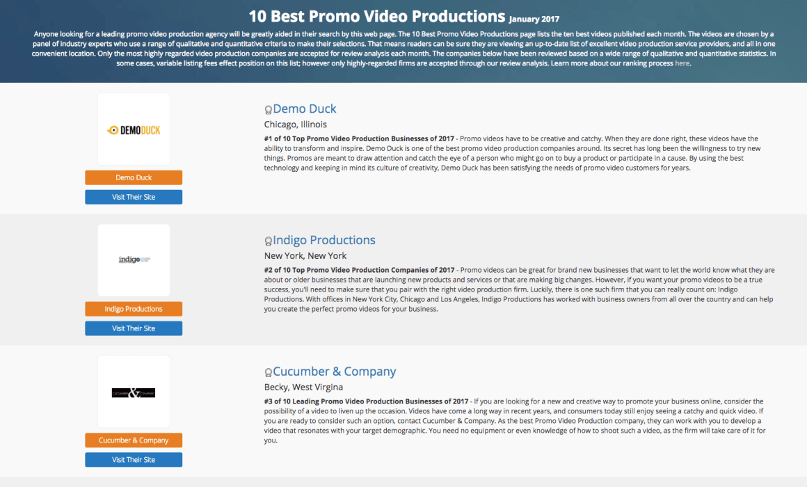 10 best promo video productions in January 2017