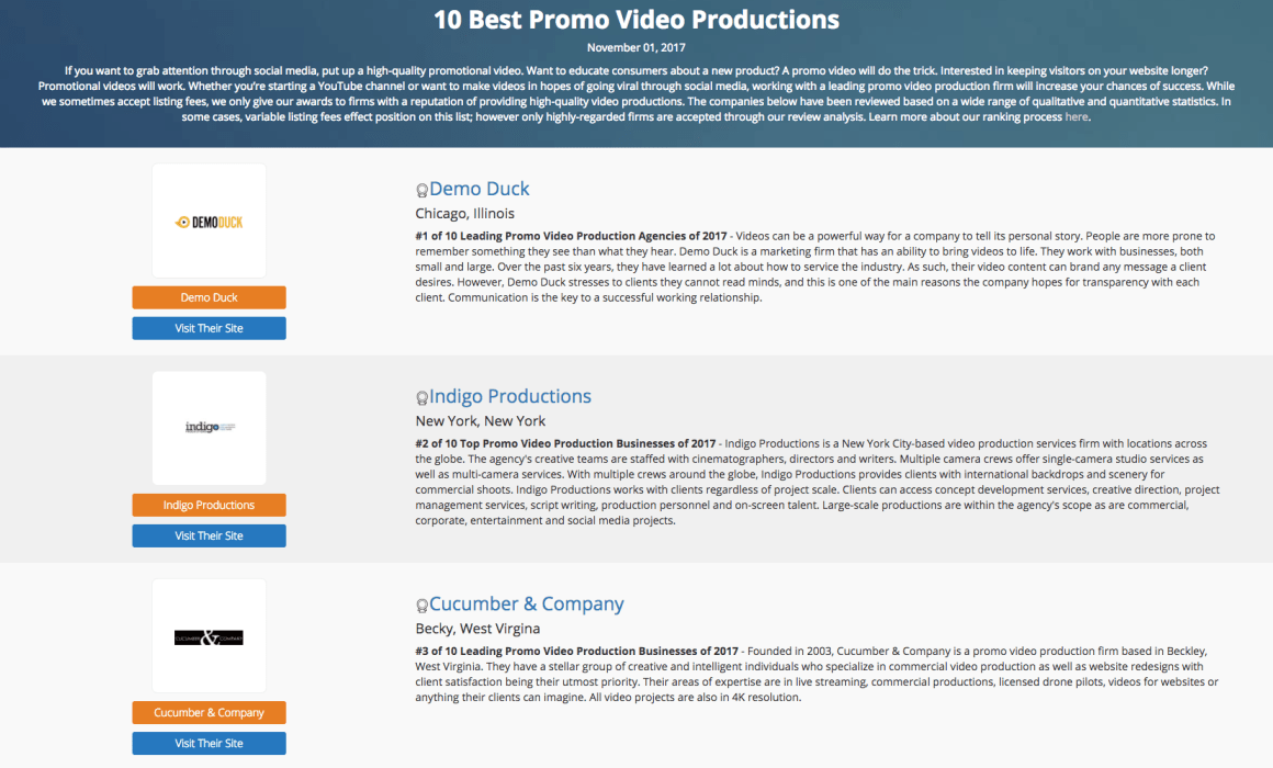Cucumber and Company Best Promo Video Production in November 2017