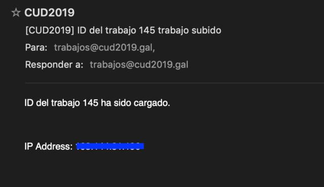 Confirmación de envío de trabajo por correo electrónico