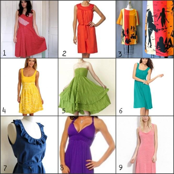 rainbow of sundresses