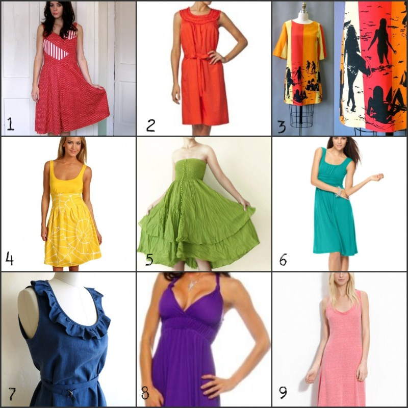rainbow of sundresses