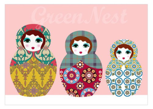 kids wall art: nesting doll collage by green nest