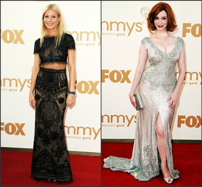 2011 Emmy Fashion paltrow and hendricks