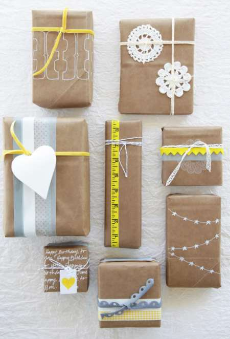 gift wrap inspiration: kraft paper