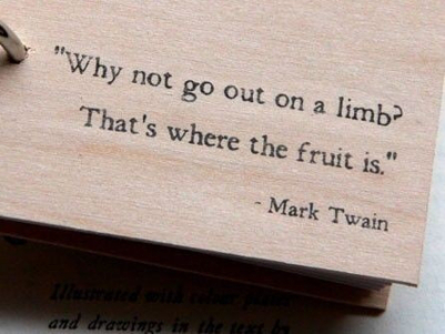 why not go out on a limb that's where the real fruit is - inspirational quote