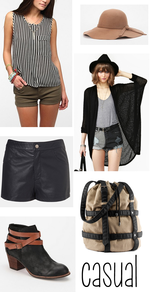 leather shorts casual style