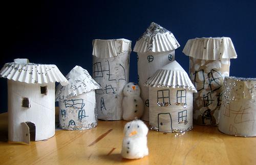 spring break craft ideas: tp tube village