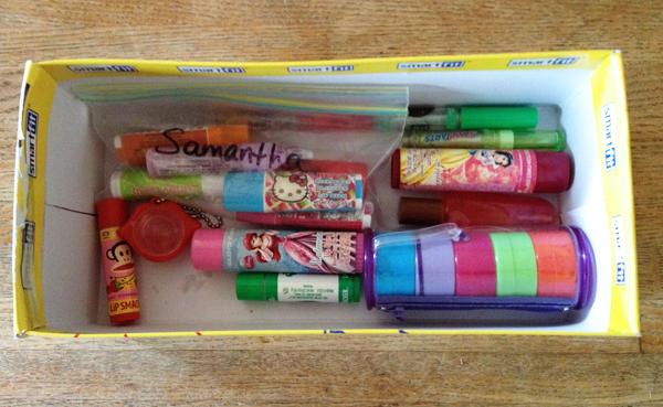 eco-friendly organization: lip gloss in a shoe box