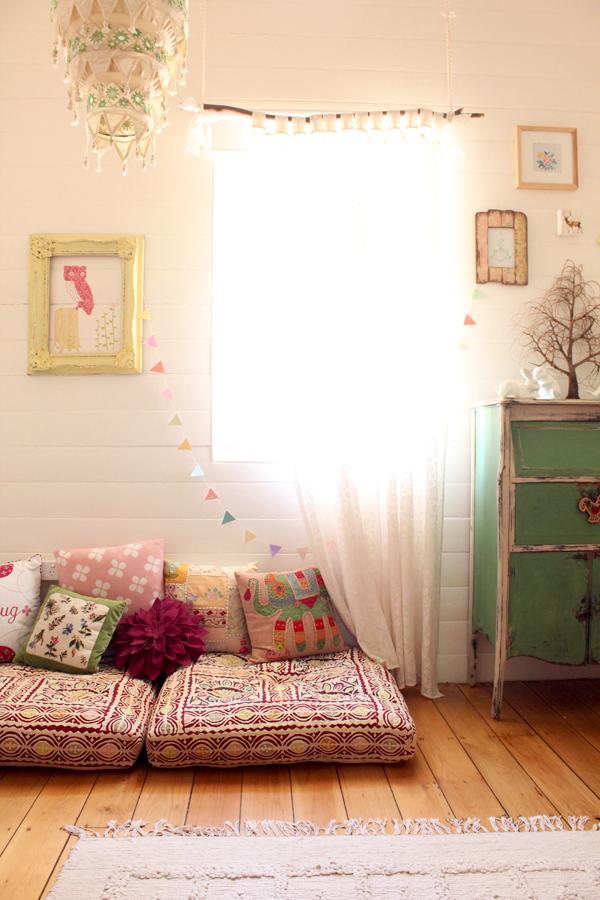 bohemian girls room: floor cushions