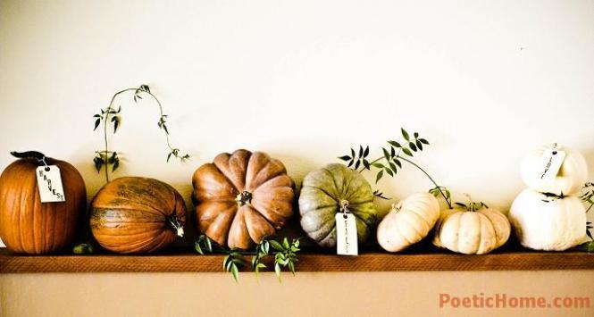 fall pumpkin decor: colorful pumpkin mantel