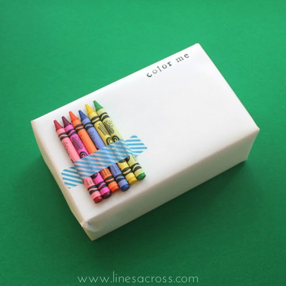 Gift wrap inspiration: crayons for kids