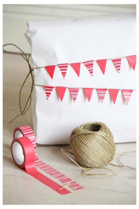 Gift wrap inspiration: washi tape bunting