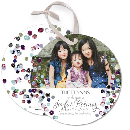 tiny prints holiday cards: sequined ornament