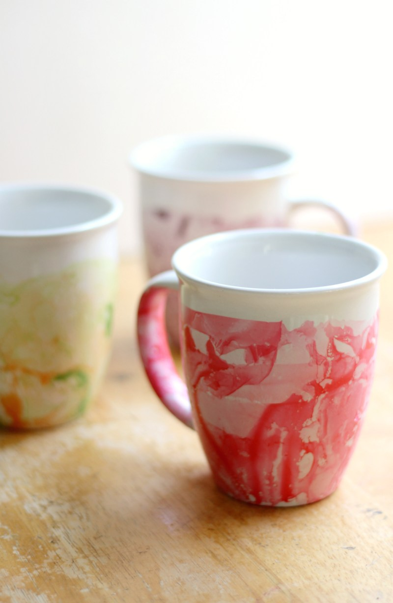 50+ indoor kids activities - marbled nail polish mugs