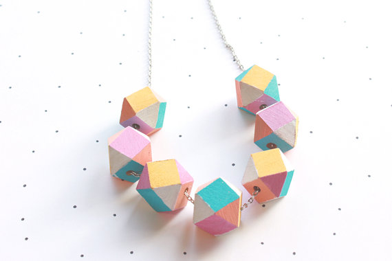 So Little Time Co Pastel Wooden Geometric Faceted Beaded Necklace
