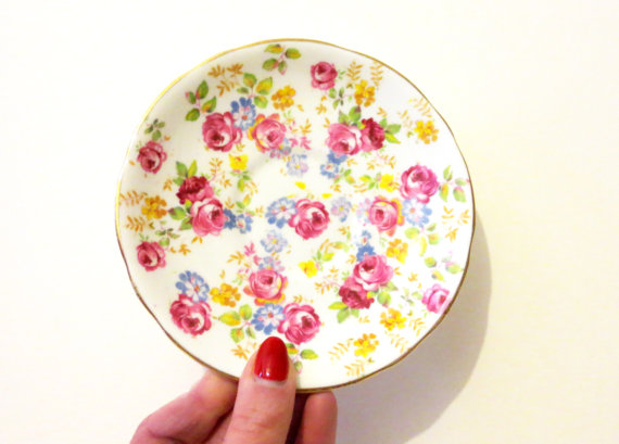 vintage finds: pink roses saucer by Royal Stafford via Clifton Supply Company