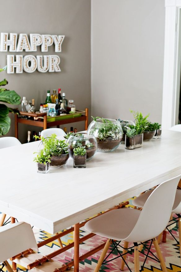 terrarium table runner via A Beautiful Mess
