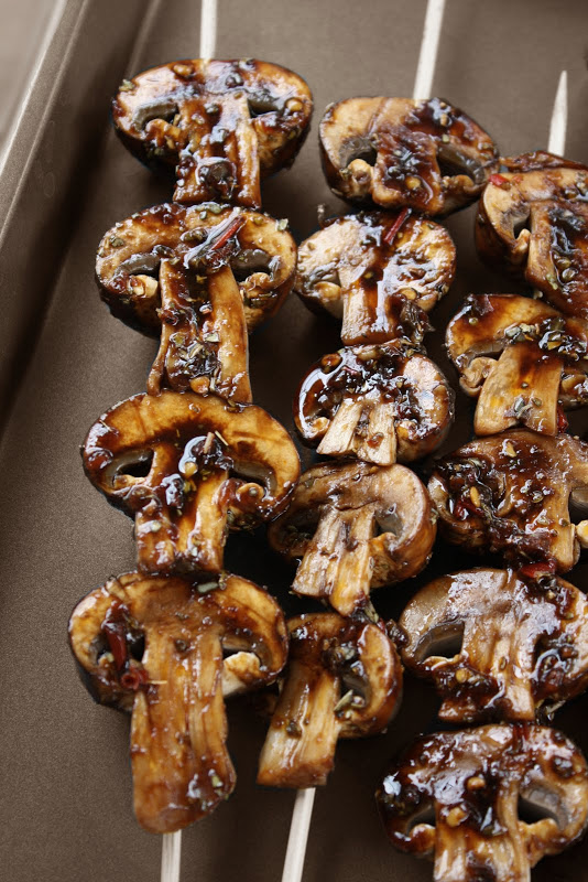 mushroom skewers via Dinners and Dreams