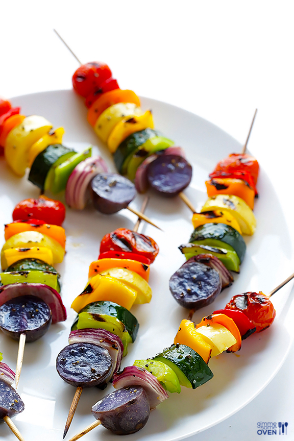 rainbow veggie skewers via Gimme Some Oven