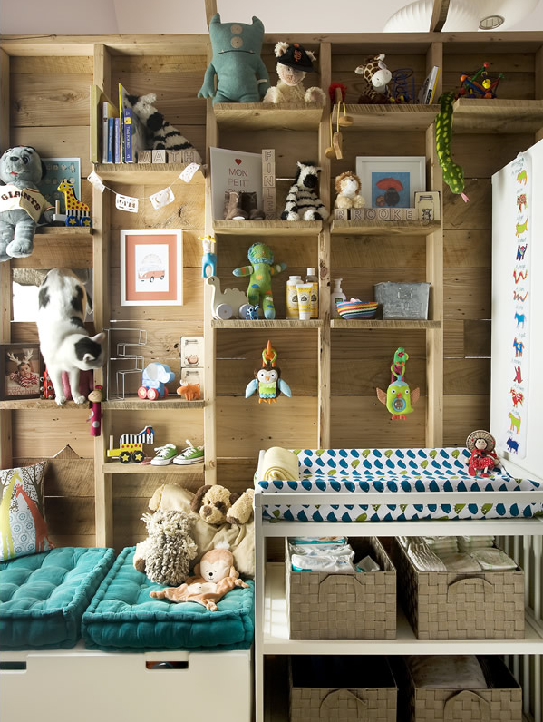 kids decor for grown ups | shelving