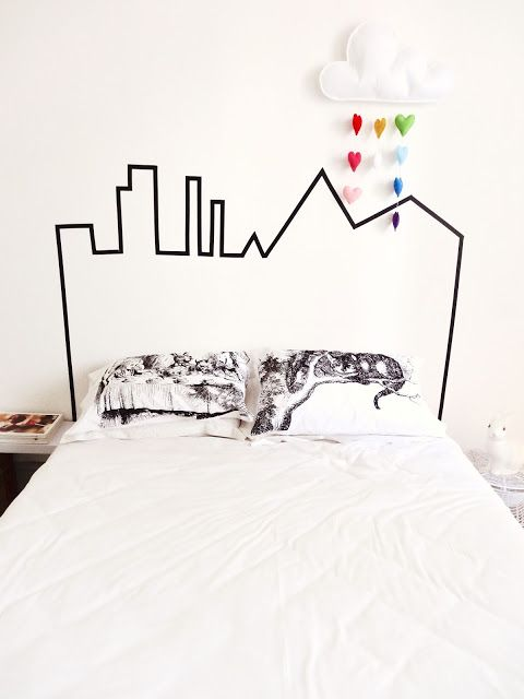 kids decor for grown ups | washi tape headboard