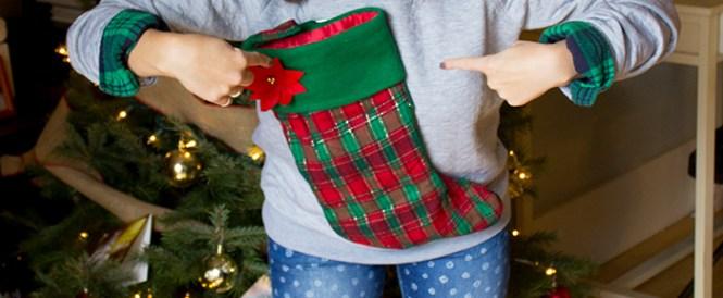 Ugly Christmas Sweater DIYs | stocking sweater