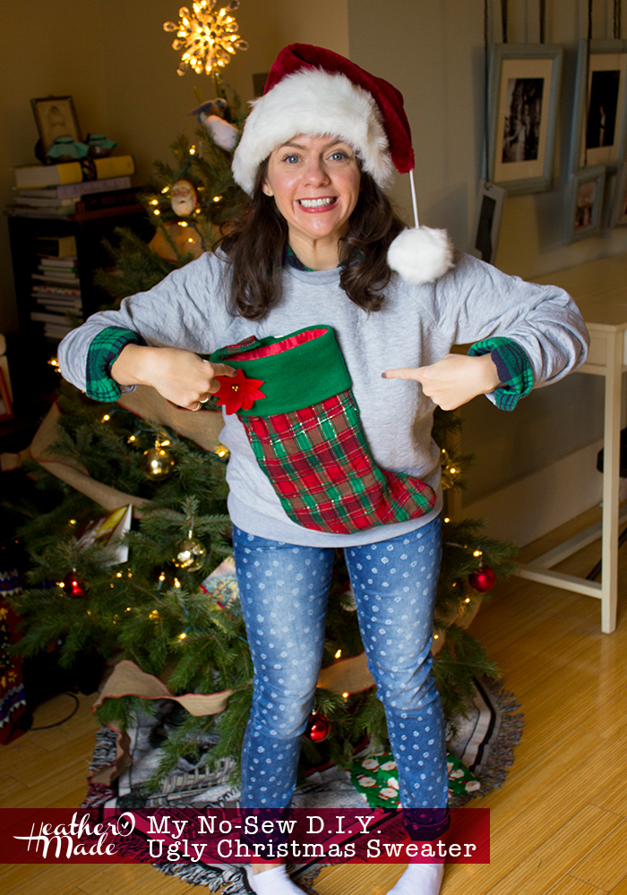 Ugly Christmas Sweater DIYs | stocking sweater