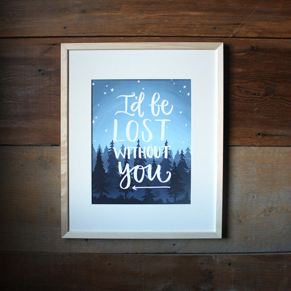 Whimsical Wall Art | One Canoe Two I'd be lost without you print