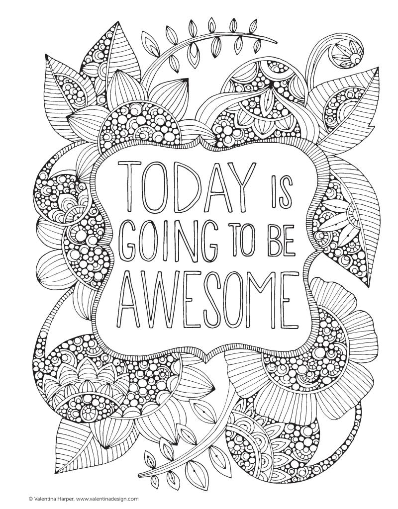 free adult coloring pages | today is going to be awesome