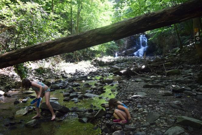 exploring Indian Brook Falls with kids