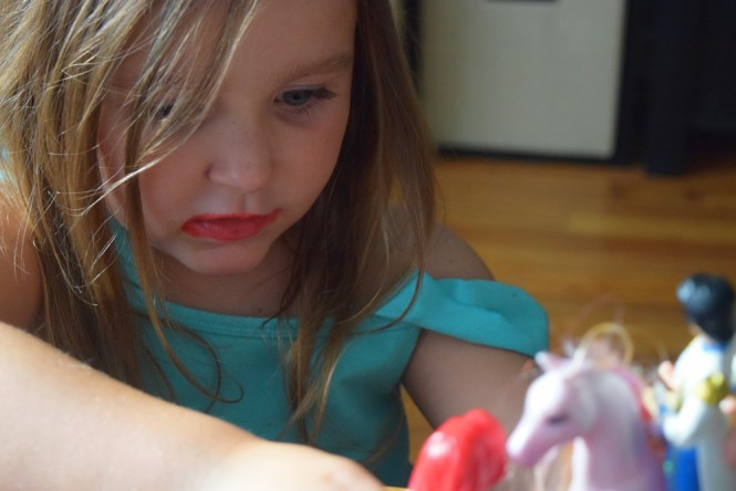 messy kids lipstick face