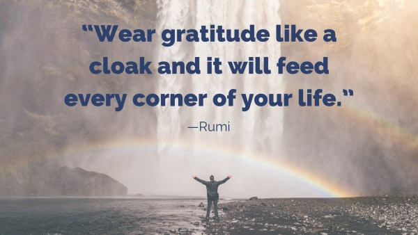 """Wear gratitude like a cloak and it will feed every corner of your life."" desktop wallpaper"