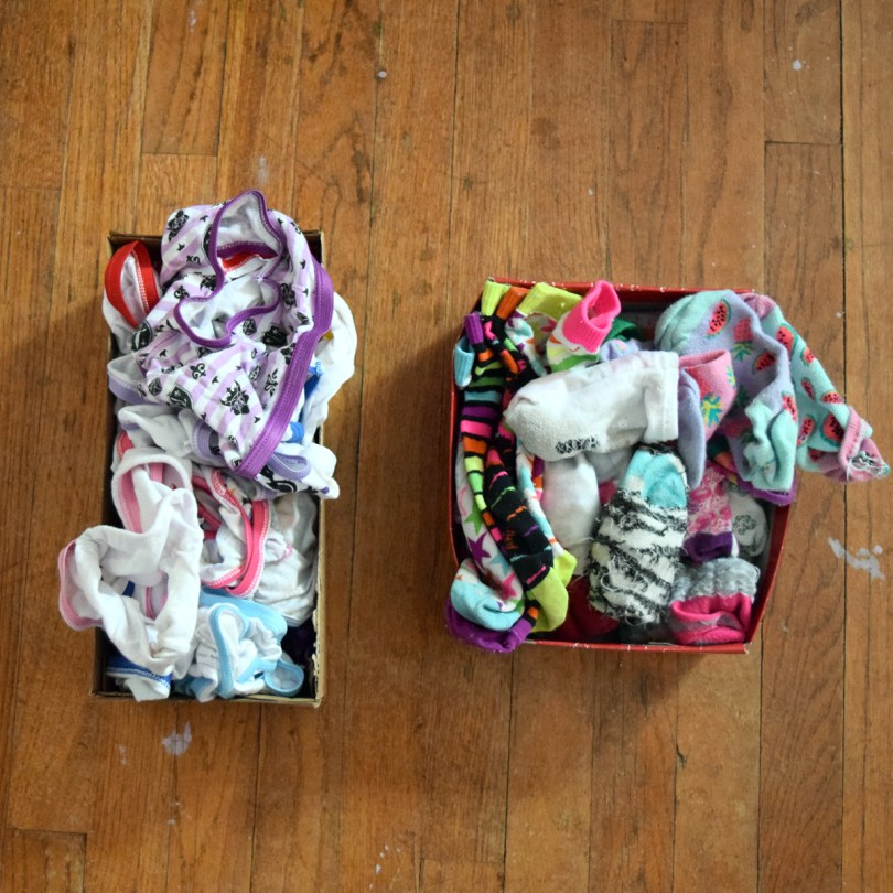 reuse shoeboxes to organize kids' dressers