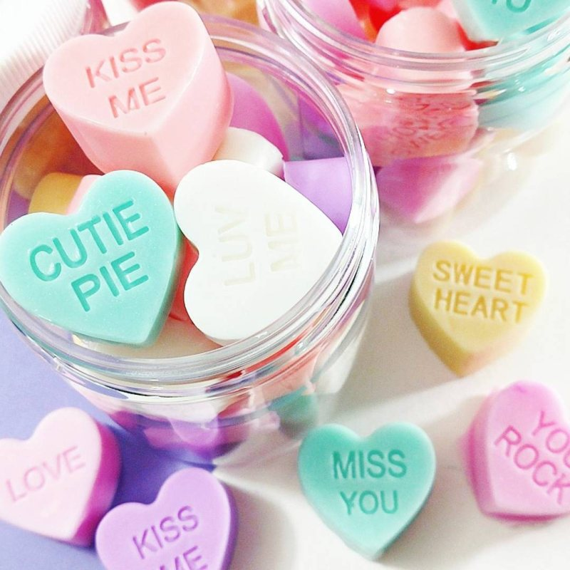 10 Fun Finds For Valentine's Day - conversation heart soap from Sunbasil Soaps