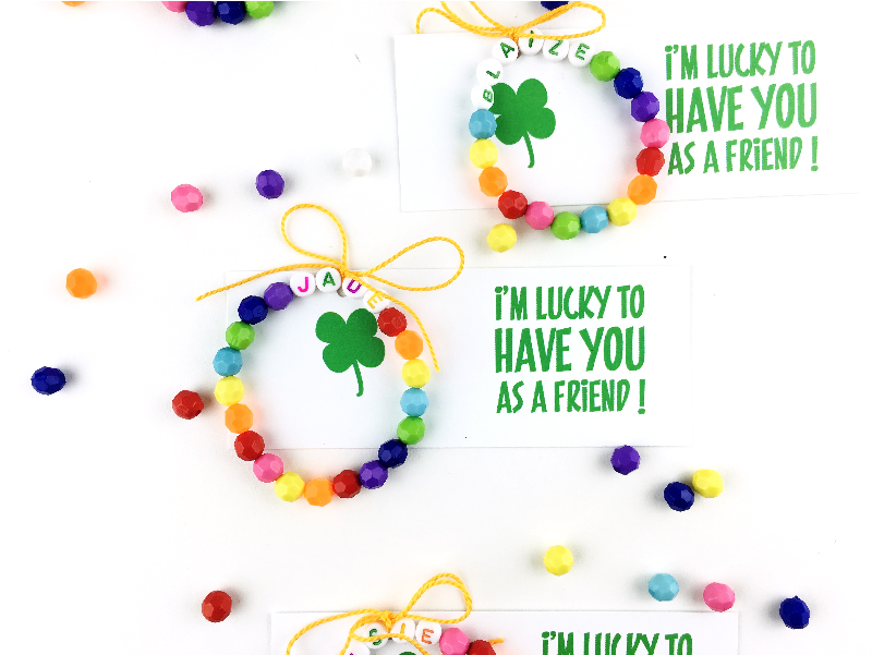 Rainbow Crafts for Kids - friendship bracelet with free printable
