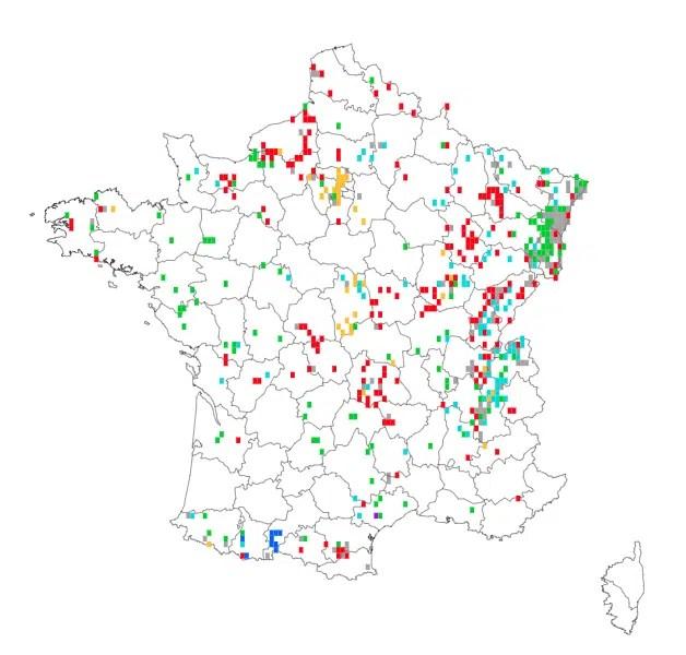Carte des observations de l'ail des ours en France. Telabotanica.