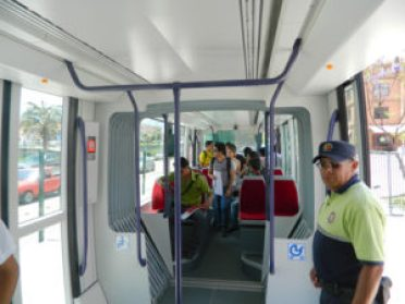 Interior of a tram car.