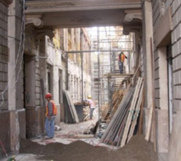 Remodeling work is underway on a building south of San FrancisicoPlaza.