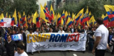 Marchers in Quito are demanding a public referendum on elimination of term limits.
