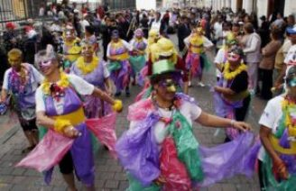 Carnival parade in Quito attracted tens of thousands on Monday.