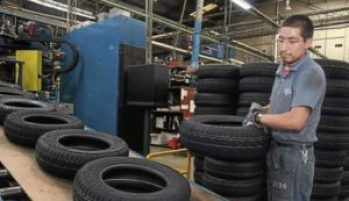 Production line at Cuenca's Continental Tire factory.