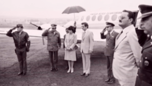 President Jaime Roldos and his wife just before they died in plane crash near Loja in 1982.